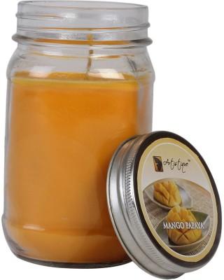 Artistique 11 Oz Round Mason Glass Jar Fragrance (Mango Papaya) Candle