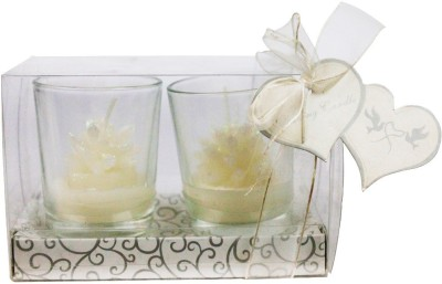 The Candle Shop White Glitter Flower Candle