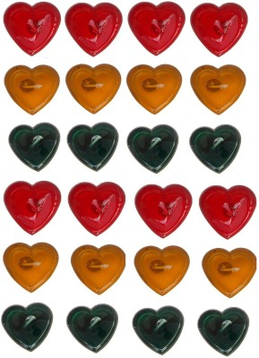 Rasmy Candles Heart Shaped Gel pac of 24 Candle