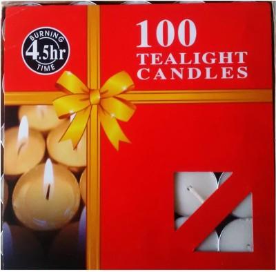 Rasmy Candles White Tea Light 100 Pcs 4.5hr Burning Candle(White, Pack of 100)