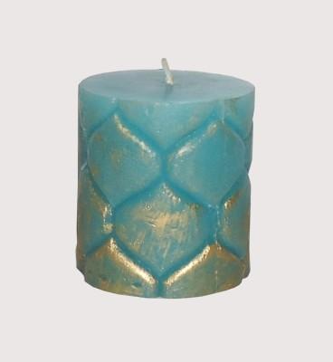 GGI Designer Embossed Pillar Candle Turq 2.75 x 3 Candle