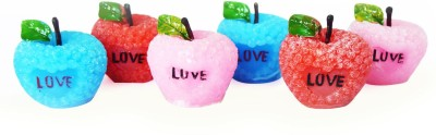DIZIONARIO Scented Wax Apple Shape Rose Romantic Set of 6pc Candle