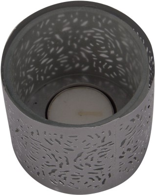 A33 Store Silver Decorated Glass Candle