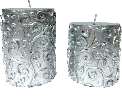 THE CANDLE DUX SILVER DESIGNER COMBO OF 2 Candle