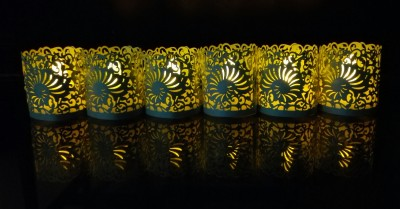 WhitePavo Flickering LED TeaLight - Yellow Flame with Sapphire Blue Shell Designer Paper Votive Wraps and Candle