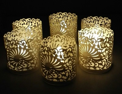 WhitePavo Flickering LED TeaLight - White Flame with Ivory Shell Designer Paper Votive Wraps and Candle