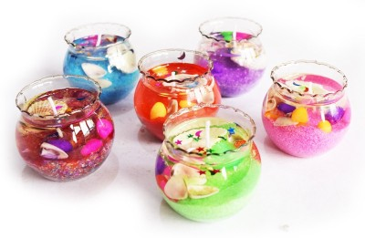 DIZIONARIO Glass Gel Pot Decorative Set of 6 Candle