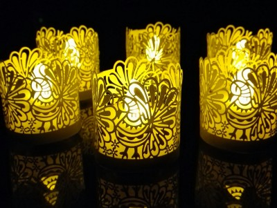 WhitePavo Flickering LED TeaLight - Yellow Flame with Golden Yellow Peacock Designer Paper Votive Wraps and Candle