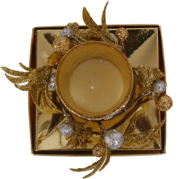 Divsam Artistic Decorative Floral Golden Rushlight Candle