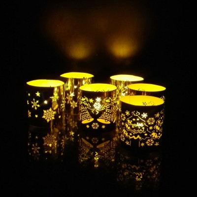 WhitePavo Flickering LED TeaLight - Yellow Flame with X-MAS Designer Paper Votive Wraps and Candle