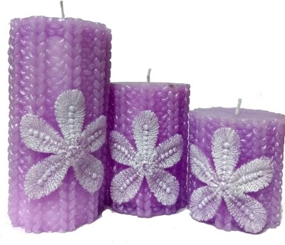 THE CANDLE DUX PURPLE DESIGNER COMBO OF 3 Candle(Multicolor, Pack of 3)