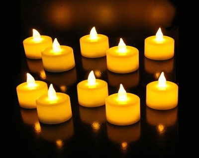 Goyal LED Yellow Flickering Tealight (Pack of 10) Candle