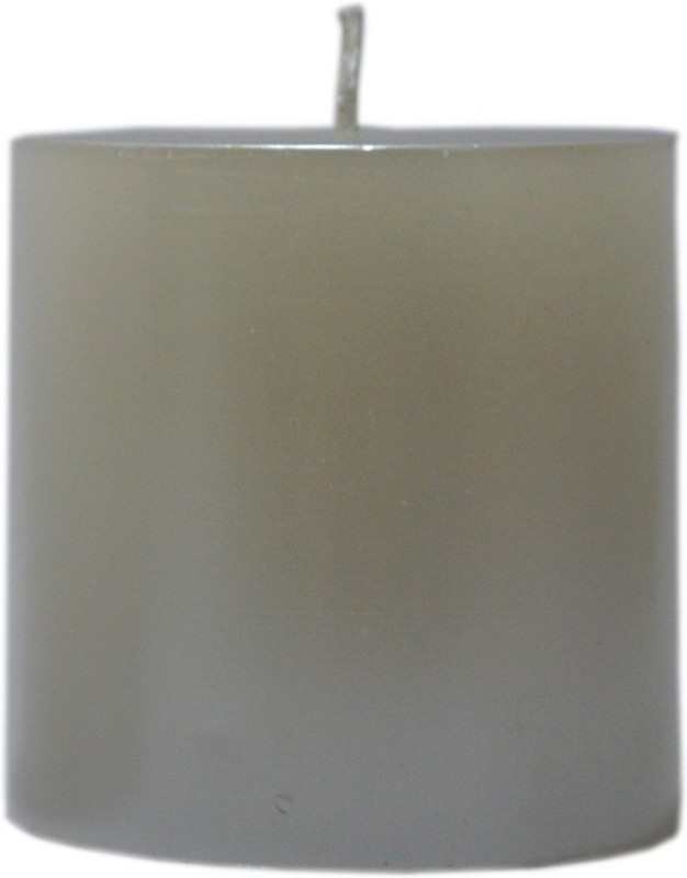 Candangel white piller Candle(White, Pack of 1)