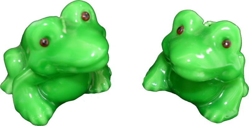 Eco Haat FROG Candle Set of 2 Candle(Green, Pack of 2)