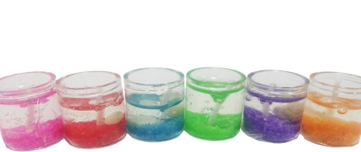 Aadi Shakti Set of 6 Multicolor Wax in Glass Container Candle(Multicolor, Pack of 6)