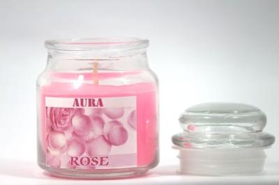 AuraCandles Highly Fragrance Jar Candle ( Rose ) Candle