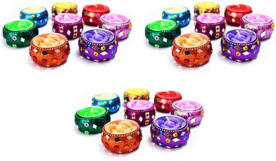 DIZIONARIO Handmade Art Colorful Evergreen Rose Tealight Set of 24pc Candle