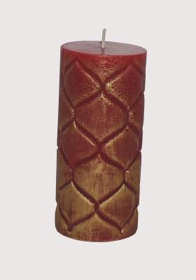 GGI Designer Embossed Pillar Candle Red 2.75 x 6 Candle