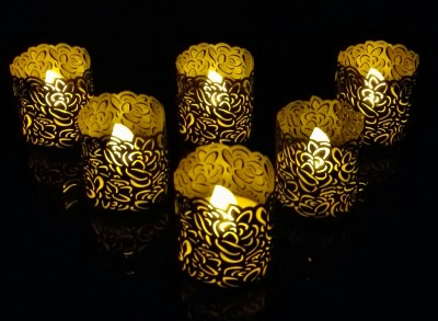 WhitePavo Flickering LED TeaLight - Yellow Flame with Grey Rose Designer Paper Votive Wraps and Candle