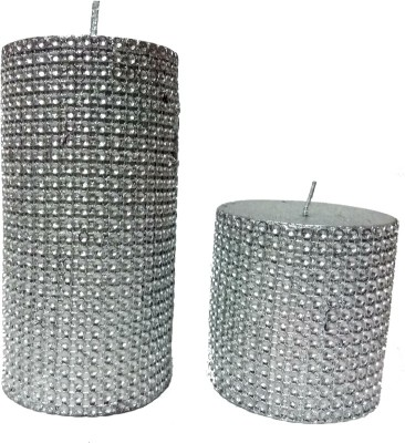 THE CANDLE DUX SILVER DOTS DESIGNER COMBO OF 2 Candle