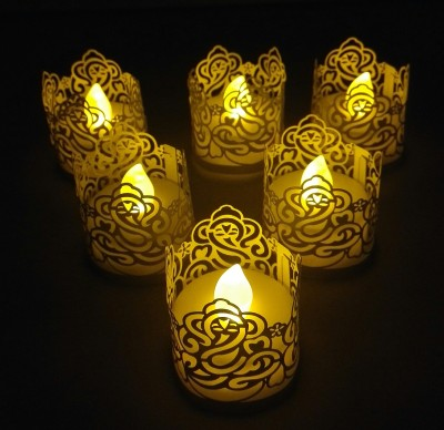 WhitePavo Flickering LED TeaLight - White Flame with Golden Yellow Ganesha Designer Paper Votive Wraps and Candle