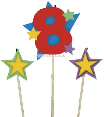 Amscan International Candle Birthday Pick Star no 8 Candle