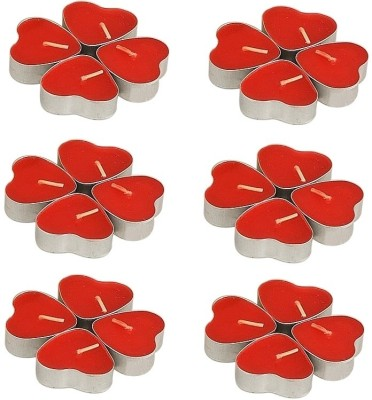 Divine Miracles Heart Shaped Red Tea Light Candle(Red, Pack of 24)
