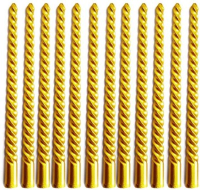 DIZIONARIO Golden Wax Spiral Pillar 10 inch Long Time Burning Set of 12pc Candle