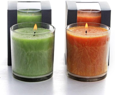 Deco Aro Aromatic Glass Candle - NCL553068 Candle(Orange, Green, Pack of 2)
