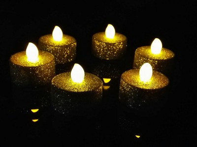 WhitePavo Flickering LED Glitter Body TeaLight - Yellow Flame Candle(Silver, Pack of 6)