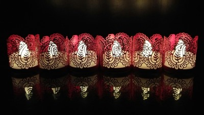 WhitePavo Flickering LED TeaLight - White Flame with Pink Mango Designer Paper Votive Wraps and Candle