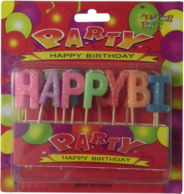 Atpata Funky Happy Birthday Alphabetical Candle(Multicolor, Pack of 1)