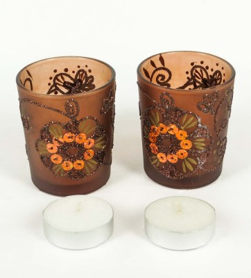 Goyal Designer Glass Cup with Two tealights (Set of 2) Candle