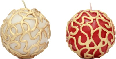 Tvish Candles Decorative Ball Candle(Red, White, Pack of 2)