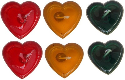Rasmy Candles Heart Shape Gel Candle(Multicolor, Pack of 6)