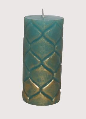 GGI Designer Embossed Pillar Candle Turq 2.75 x 6 Candle