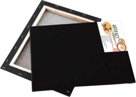 Artifact Black Cotton Grain Stretched Pre Stretched Canvas (Set of 1)