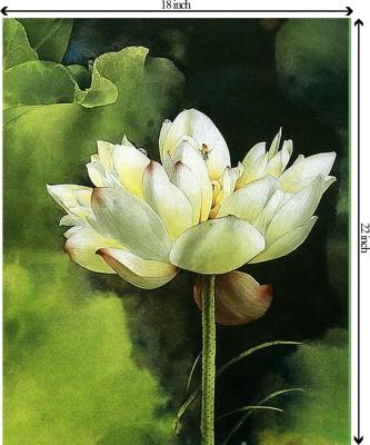 Tiedribbons Flower Bird unframed Cotton Medium Grain Canvas Roll (Set of 1)