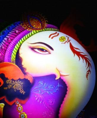 Tiedribbons Decorated Lord Ganesh unframed Cotton Medium Grain Canvas Roll (Set of 1)