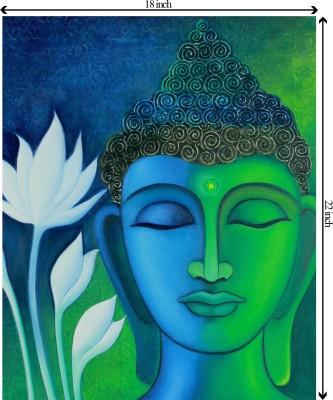 Tiedribbons Buddha in Meditation unframed Cotton Medium Grain Canvas Roll (Set of 1)