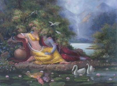 CanvasChamp Radha Krishna Unframed Art Painting 9