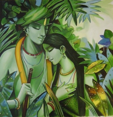 CanvasChamp Radha Krishna Unframed Art Painting 12