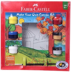 Faber Castell Art Set Acrylic Acrylic Coated Board Canvas (Set of 6)