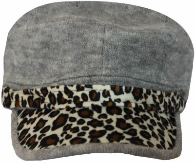 TakeIncart Animal Print Silver Leopard Beret Cap