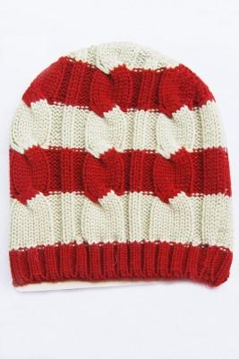 The Modern Knitting Shop Single Knit Striped Classy Kashmilon Woollen Solid Skull Cap