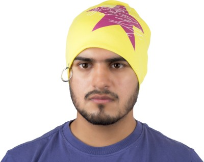 Noise Keep Calm and Rebel on Beanie- Yellow With Ring Printed Skull Cap