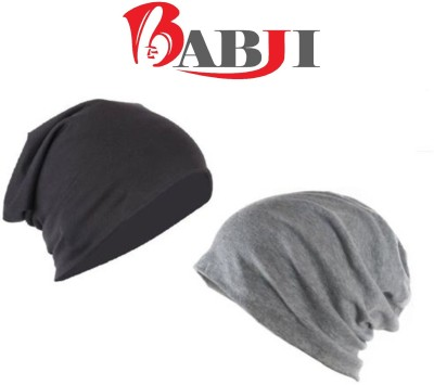 Babji COMBO Beanie Skull Slouchy Cotton Cap(Pack of 2)