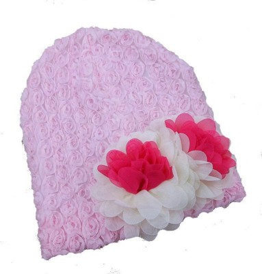 Pikaboo Chiffon Flower Hat For Baby Girls Woven Skull Cap