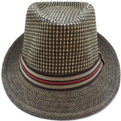 Tiny Seed Checkered Solid Self Design Fidora Hat Cap