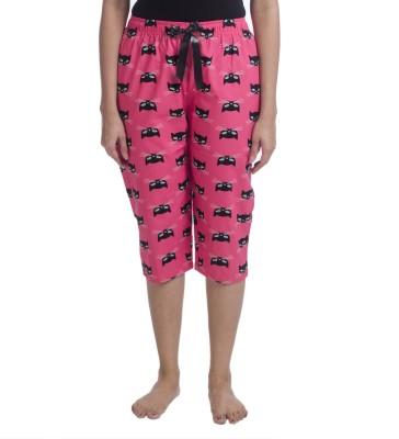Nite Flite Cat Print Cotton Lounge Capris Women's Pink, Black Capri